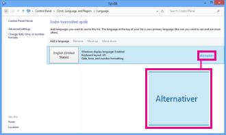 Legge til inndatametode i Kontrollpanel i Windows 8