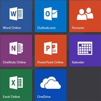 Startskjermen på Office.com