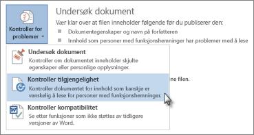 Kontroller tilgjengelighet-kommandoen i Word 2013