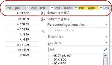 Autofiltre i kolonneoverskrifter i Excel-tabell