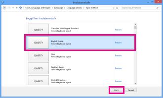 Legge til inndatametode i Windows 8
