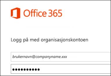 Påloggingsskjermen på Office 365-portalen