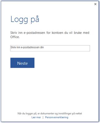 Første skjermbilde for pålogging eller for å bytte konto