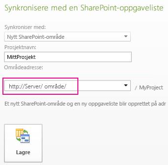 Bilde av synkronisering til et nytt SharePoint-område