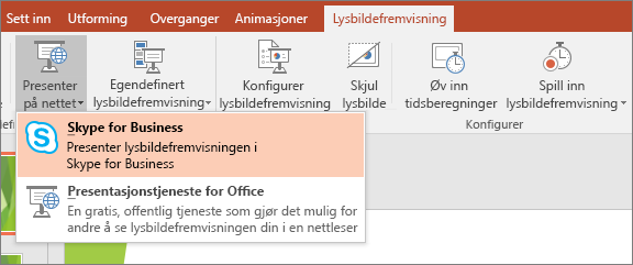 Viser alternativet Presenter på nettet i PowerPoint