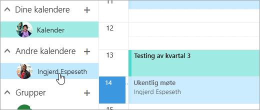 Et skjermbilde av en delt kalender.