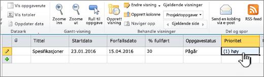 Fyll ut tittelen, datoer og statusen for prosjektoppgavene