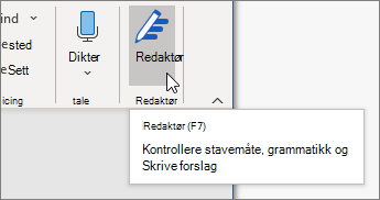 Velg Redigering i Hjem-fanen, eller trykk på F7 for å åpne Redigering-ruten.