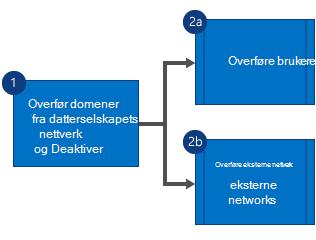 Et flytskjema som viser at du først overfører domener fra datterselskapets Yammer-nettverk og deaktiver nettverket og deretter overfører brukere og eksterne nettverk parallelt.