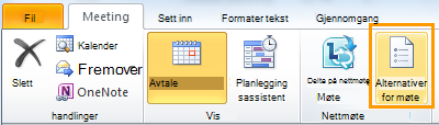 Båndet i Outlook