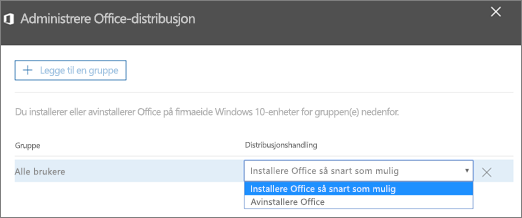 Velg enten Installere Office så snart som mulig eller Avinstallere Office i ruten Administrere Office-distribusjon.