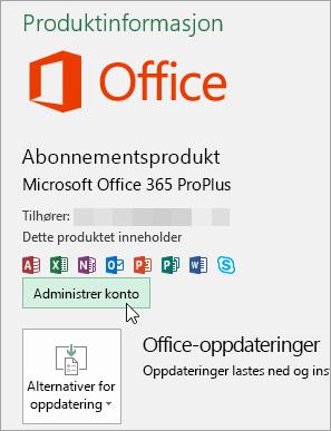 Skjermbilde som viser hvordan du merker Behandle konto på Konto-siden i et Office-skrivebordsprogram