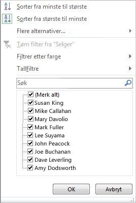 Filtrerings- og sorteringsalternativer for et pivotdiagram