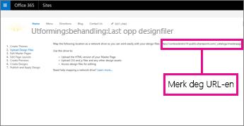 Kopier eller noter URL-adressen i Utformingsbehandling i Office 365