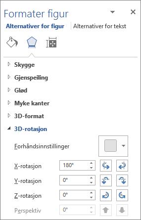 X-rotasjon i Effekter-fanen