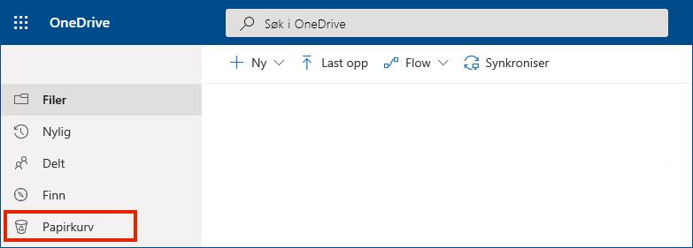OneDrive for Business på nettet, som viser papirkurven i menyen til venstre