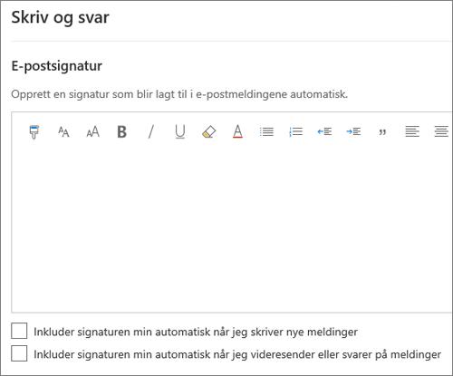 Opprette en e-postsignatur i Outlook på nettet