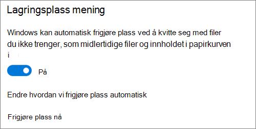 Aktiver/Deaktiver Windows 10-lagringsplass for å aktivere lagrings gjenkjenning