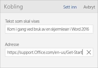 Skjermbilde av dialogboksen Word Mobile-kobling med teksten som skal vises og adressefelt.