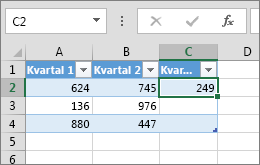 En kolonne legges til ved å skrive inn en verdi i en celle til høyre for tabellen