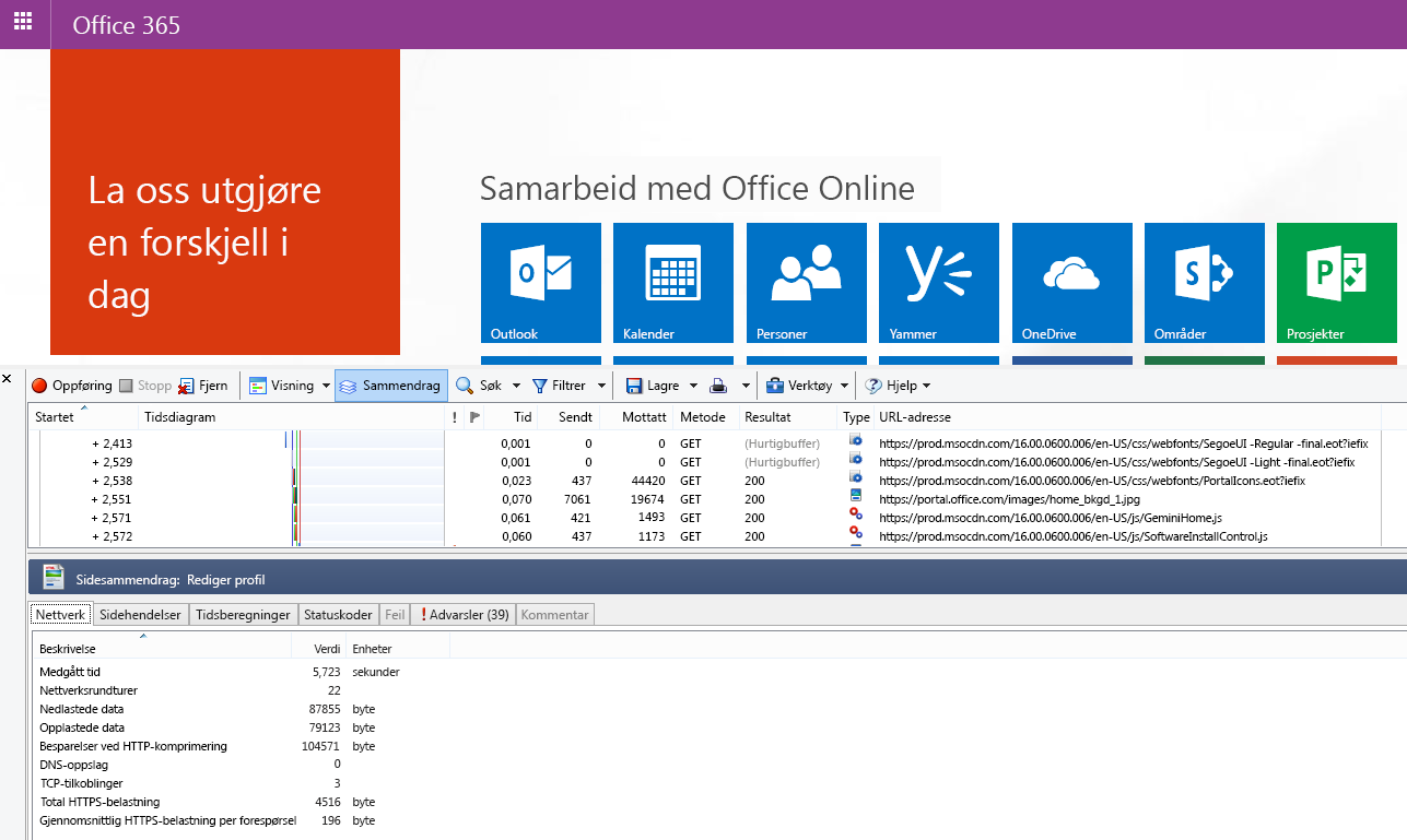 HTTPWatch som viser Nettverk-fanen for en sidelasting på startsiden for Office 365.