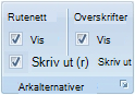 Alternativ for utskrift av rutenett