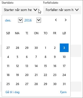 Skjermbilde av den utvidede Startdato-menyen for en Planner-aktivitet.