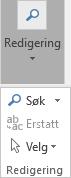 Velg Formater tekst og deretter Redigering for å åpne rullegardinlisten