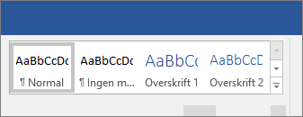 Bruke stiler alternativer på båndet i Word