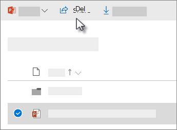 Skjermbilde av merking av en fil og klikking på Del-kommandoen