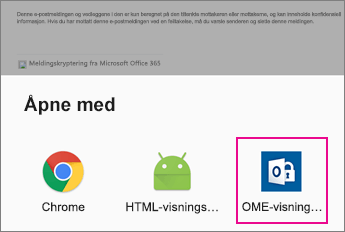 OME Viewer med Android e-postapp 2