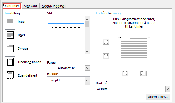 Dialogboksen Kantlinjer og skyggelegging for Word 2010