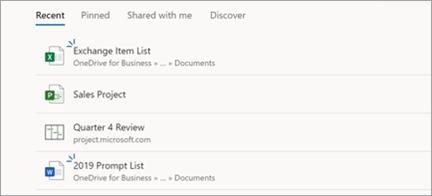 Viser prosjektfiler i Microsoft Edge
