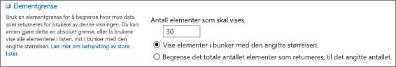 Angi antall elementer som skal vises på Vis innstillinger-siden