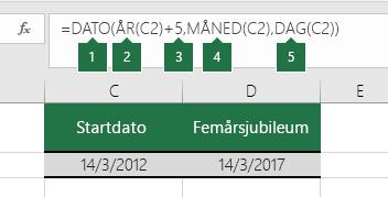 Beregne en dato som er basert på en annen dato