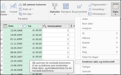 Power Query – Kombiner Datoer og Klokkeslett til en Dato/klokkeslett-kolonne fra redigeringsprogrammet for spørring
