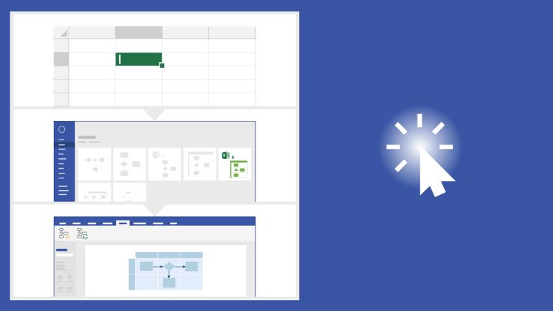 Tverrfunksjonelt flytskjema i Visio – Datavisualiserer i Excel