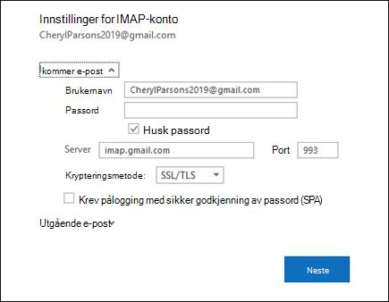 Velg serverinnstillinger for å endre bruker navn, passord og serverinnstillinger.