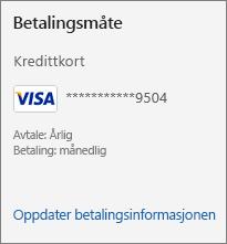 Betalingsmåte-delen av abonnement-siden som viser koblingen Oppdater betalingsdetaljer.