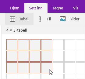 Sett inn tabell-kommandoen som viser valgrutenett