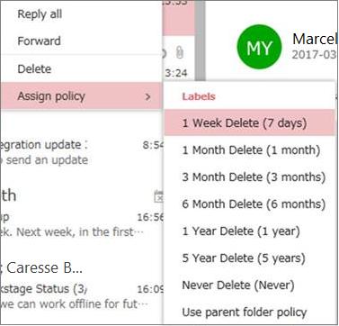 Skjerm bilde av eksempler på oppbevarings policyer i grupper i Outlook på nettet