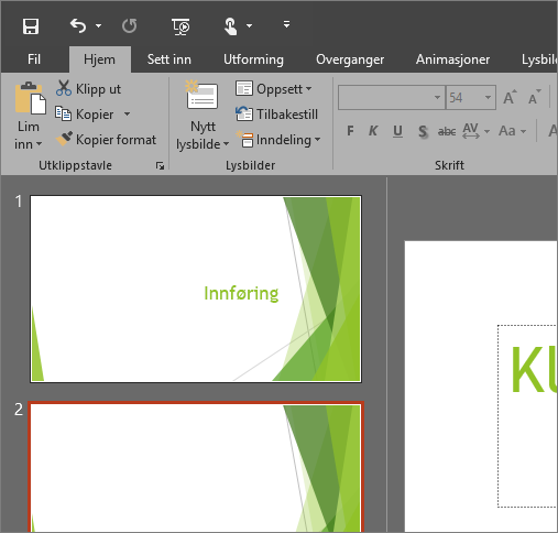 Viser det svarte temaet i PowerPoint 2016 for Windows