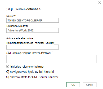 Power Query SQL Server-databasen tilkoblingen dialogboksen