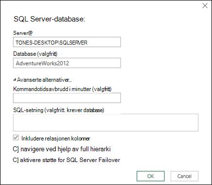 Power Query-dialog boks for database tilkobling i SQL Server