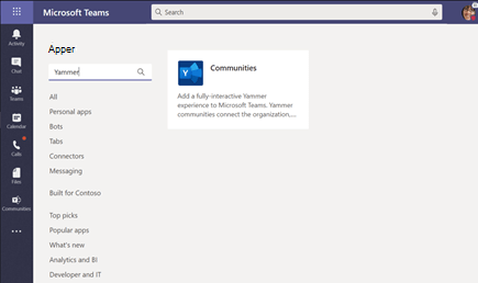 Installere Yammer Communities-appen i Microsoft Teams