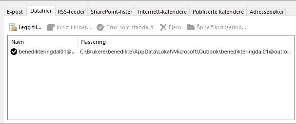 Datafilfanen for kontoinnstillinger i Outlook som viser plasseringen av Outlook-datafiler for en navngitt bruker