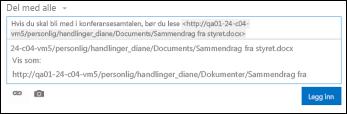 URL-adresse for dokument limt inn i nyhetsfeedinnlegg