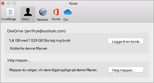 Skjerm bilde av hvordan du legger til en konto i OneDrive-innstillinger på en Mac