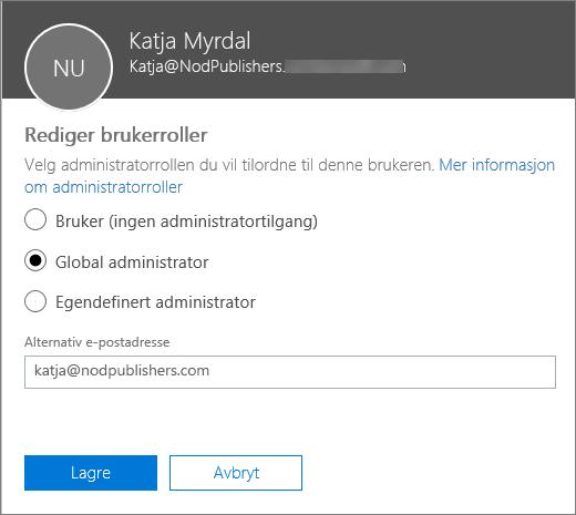 Redigere brukerroller-ruten der du kan endre brukerroller og endre den alternative e-postadressen.