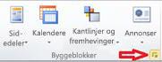 Byggeblokker-gruppe som viser knappen Vis byggeblokkbibliotek i Publisher 2010
